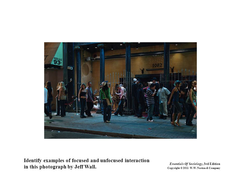 Identify examples of focused and unfocused interaction in this photograph by Jeff Wall. Essentials Of Sociology, 3rd Edition Copyright © 2011 W.W. Nor