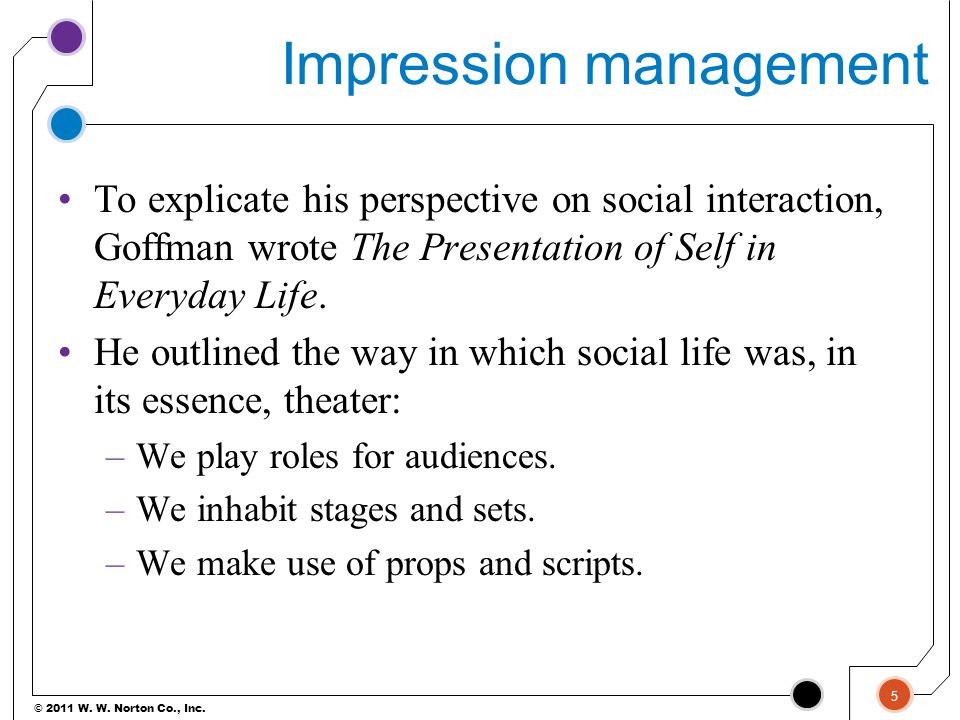 © 2011 W. W. Norton Co., Inc. Impression management To explicate his perspective on social interaction, Goffman wrote The Presentation of Self in Ever