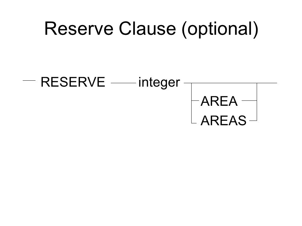 Reserve Clause (optional) RESERVE integer AREA AREAS