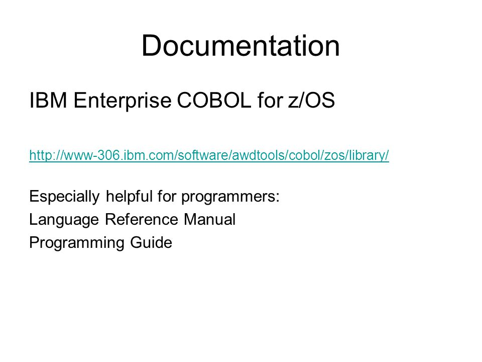 Course Outline QSAM File Processing -Defining files -Dynamic File processing in COBOL Subprograms –CALL –Parameter passing techniques –CANCEL –Nested programs –Recursion Tables –Single Dimension –Multi-Dimension –Subscripts and Indexes –Searching