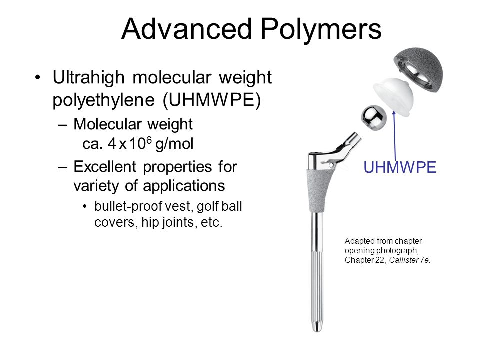 Advanced Polymers Ultrahigh molecular weight polyethylene (UHMWPE) –Molecular weight ca. 4 x 10 6 g/mol –Excellent properties for variety of applicati