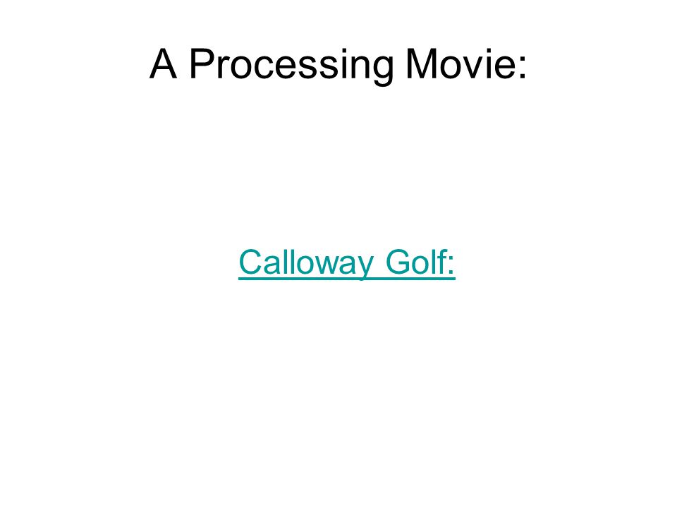 A Processing Movie: Calloway Golf: