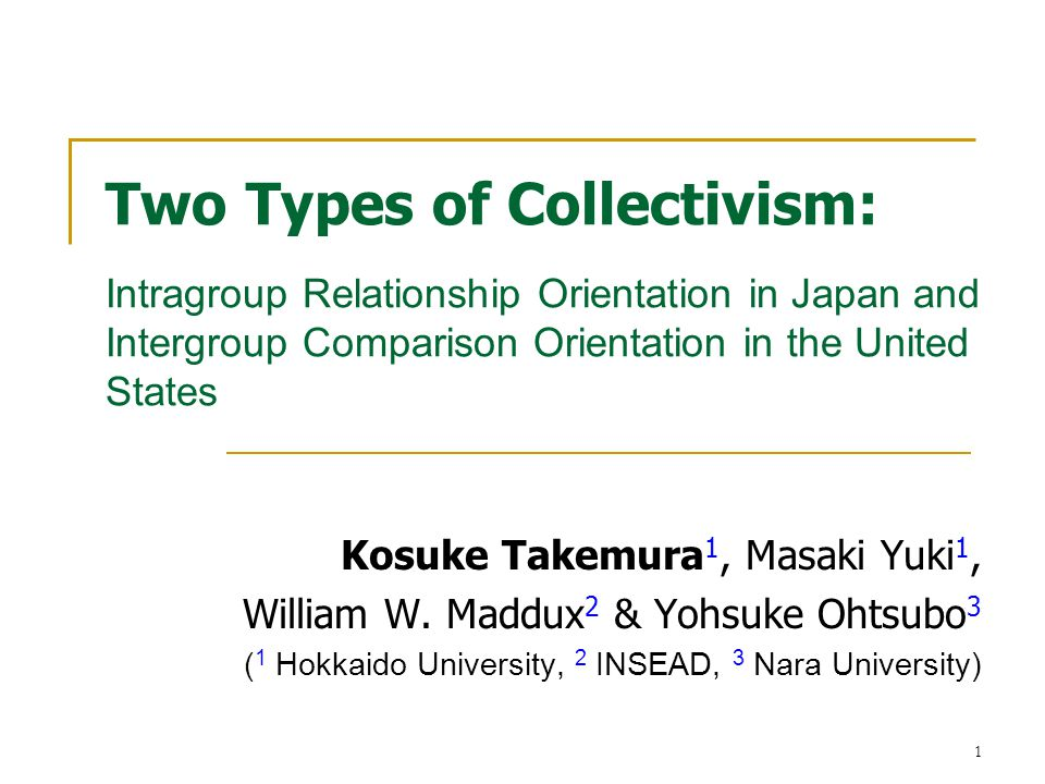 2 Outline Purpose: Examination of cultural differences in types of collectivism between Japan and the United States.