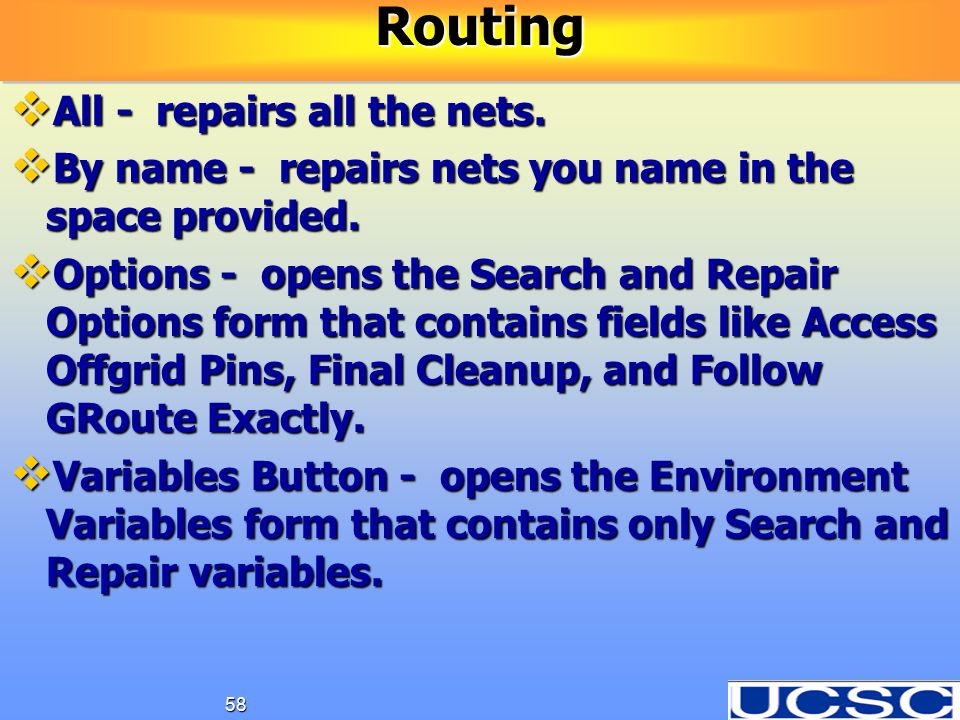 58  All - repairs all the nets.  By name - repairs nets you name in the space provided.  Options - opens the Search and Repair Options form that co