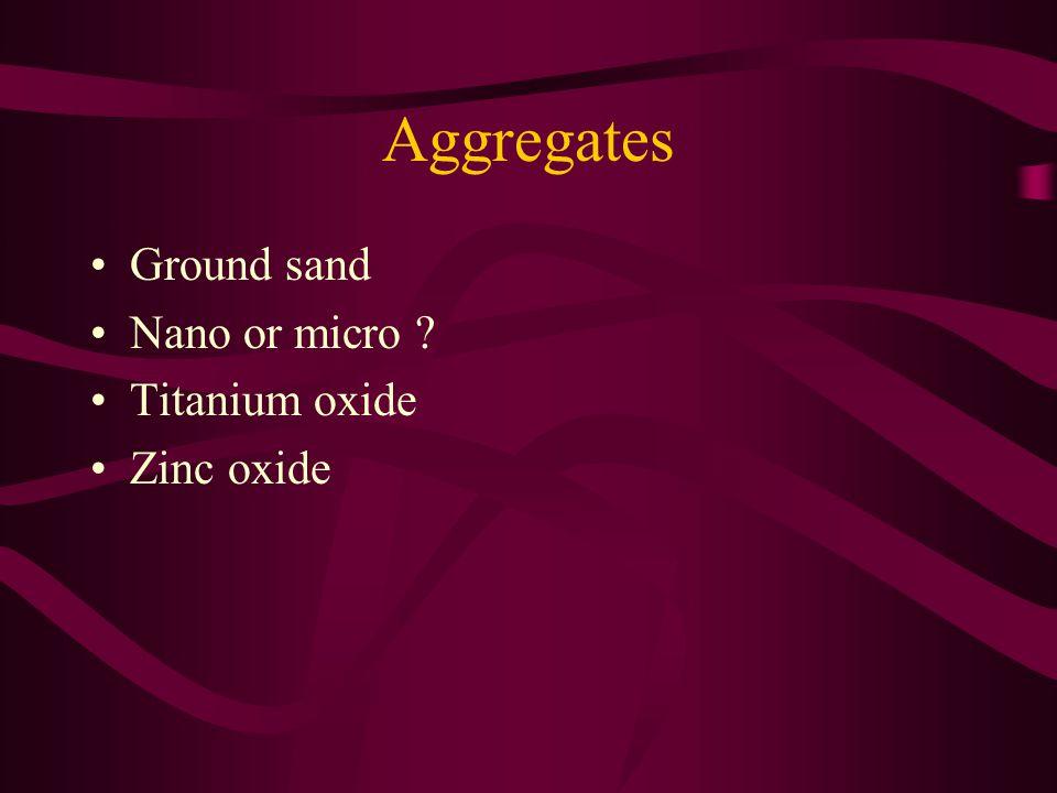 Aggregates Ground sand Nano or micro Titanium oxide Zinc oxide