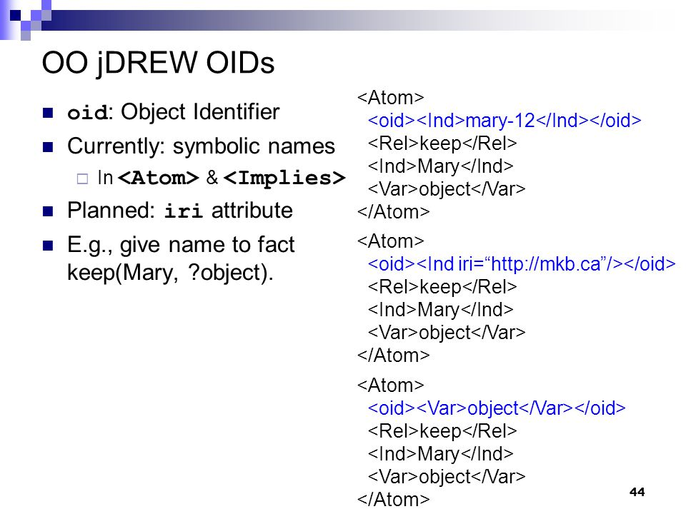 44 OO jDREW OIDs oid : Object Identifier Currently: symbolic names  In & Planned: iri attribute E.g., give name to fact keep(Mary, object).