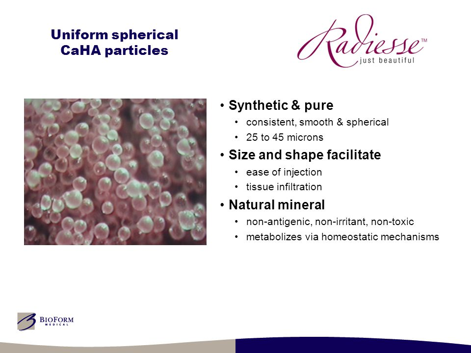 Uniform spherical CaHA particles Synthetic & pure consistent, smooth & spherical 25 to 45 microns Size and shape facilitate ease of injection tissue i