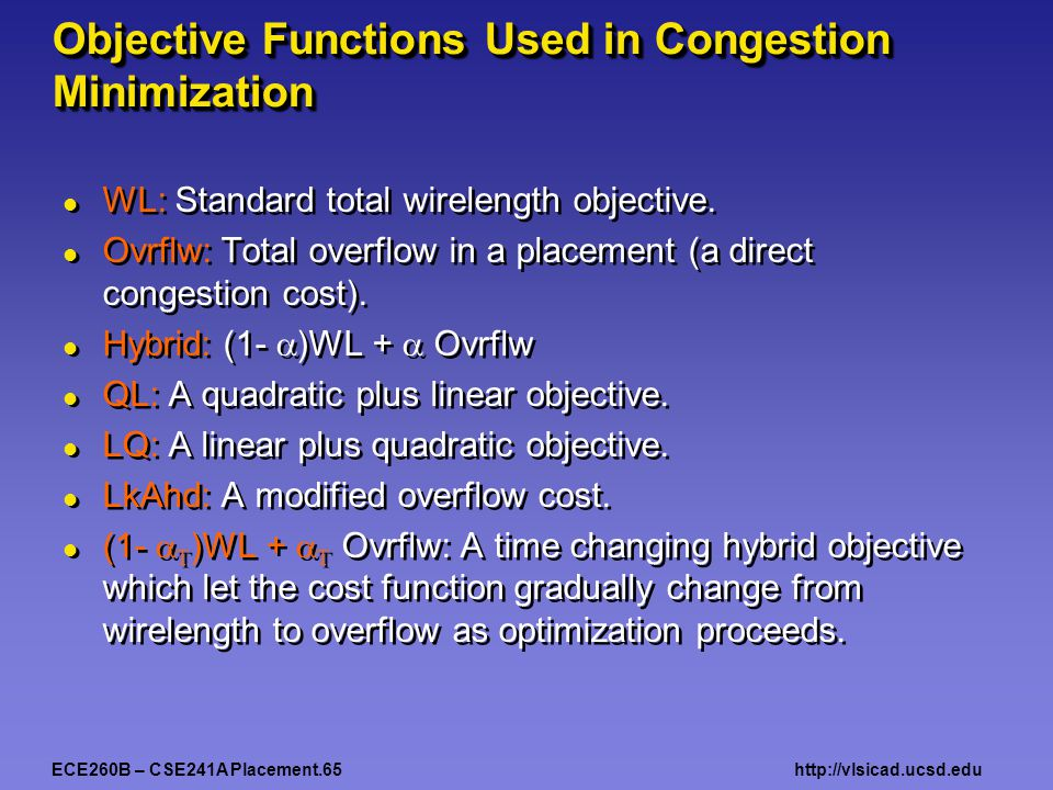 ECE260B – CSE241A Placement.65http://vlsicad.ucsd.edu Objective Functions Used in Congestion Minimization WL: Standard total wirelength objective.