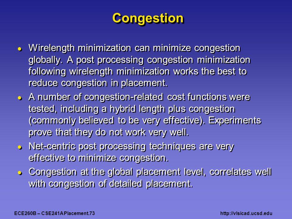 ECE260B – CSE241A Placement.73http://vlsicad.ucsd.edu CongestionCongestion Wirelength minimization can minimize congestion globally. A post processing