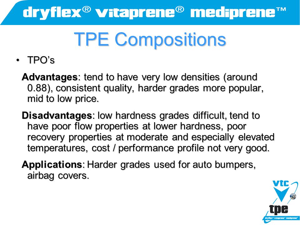 TPE Compositions TPO'sTPO's Advantages: tend to have very low densities (around 0.88), consistent quality, harder grades more popular, mid to low pric