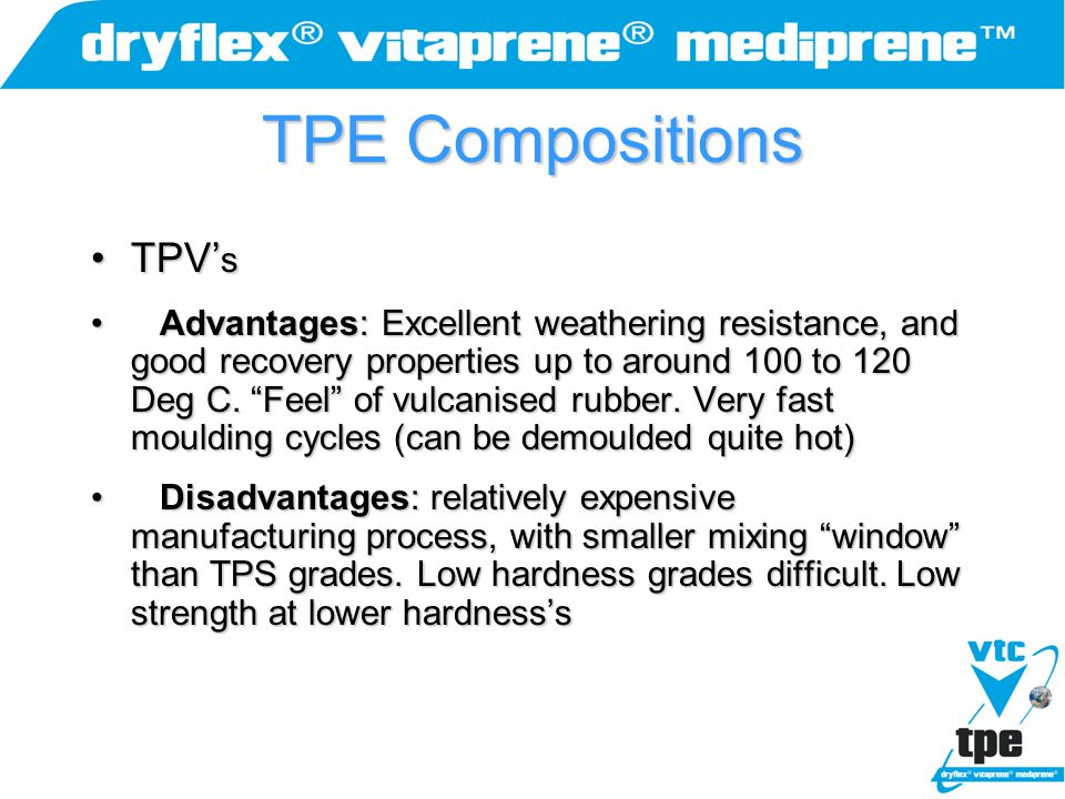 """TPE Compositions TPV' sTPV' s Advantages: Excellent weathering resistance, and good recovery properties up to around 100 to 120 Deg C. """"Feel"""" of vulca"""