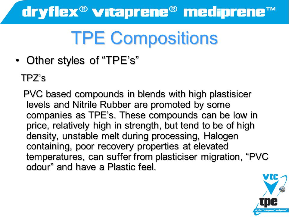 """TPE Compositions Other styles of """"TPE's""""Other styles of """"TPE's"""" TPZ's TPZ's PVC based compounds in blends with high plastisicer levels and Nitrile Rub"""