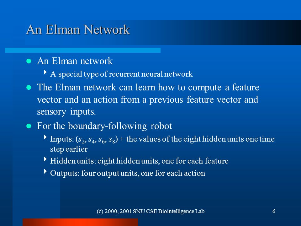 (c) 2000, 2001 SNU CSE Biointelligence Lab6 An Elman Network An Elman network  A special type of recurrent neural network The Elman network can learn how to compute a feature vector and an action from a previous feature vector and sensory inputs.