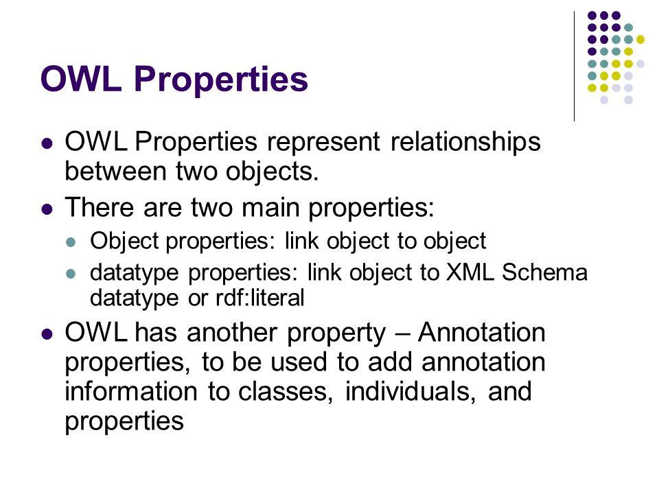 OWL Properties OWL Properties represent relationships between two objects.