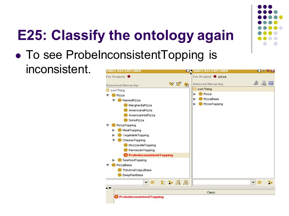 E25: Classify the ontology again To see ProbeInconsistentTopping is inconsistent.
