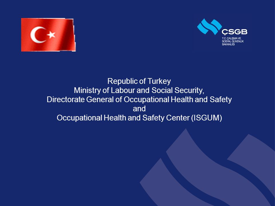Republic of Turkey Ministry of Labour and Social Security, Directorate General of Occupational Health and Safety and Occupational Health and Safety Center (ISGUM)