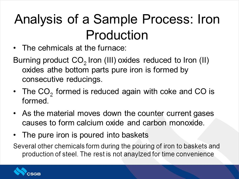 The cehmicals at the furnace: Burning product CO 2 Iron (III) oxides reduced to Iron (II) oxides athe bottom parts pure iron is formed by consecutive reducings.