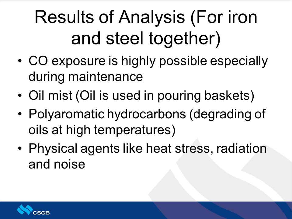 Results of Analysis (For iron and steel together) CO exposure is highly possible especially during maintenance Oil mist (Oil is used in pouring baskets) Polyaromatic hydrocarbons (degrading of oils at high temperatures) Physical agents like heat stress, radiation and noise