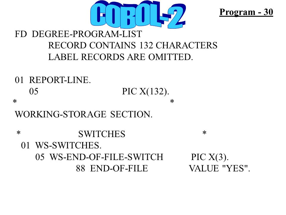 FD DEGREE-PROGRAM-LIST RECORD CONTAINS 132 CHARACTERS LABEL RECORDS ARE OMITTED. 01 REPORT-LINE. 05 PIC X(132). * WORKING-STORAGE SECTION. Program - 3