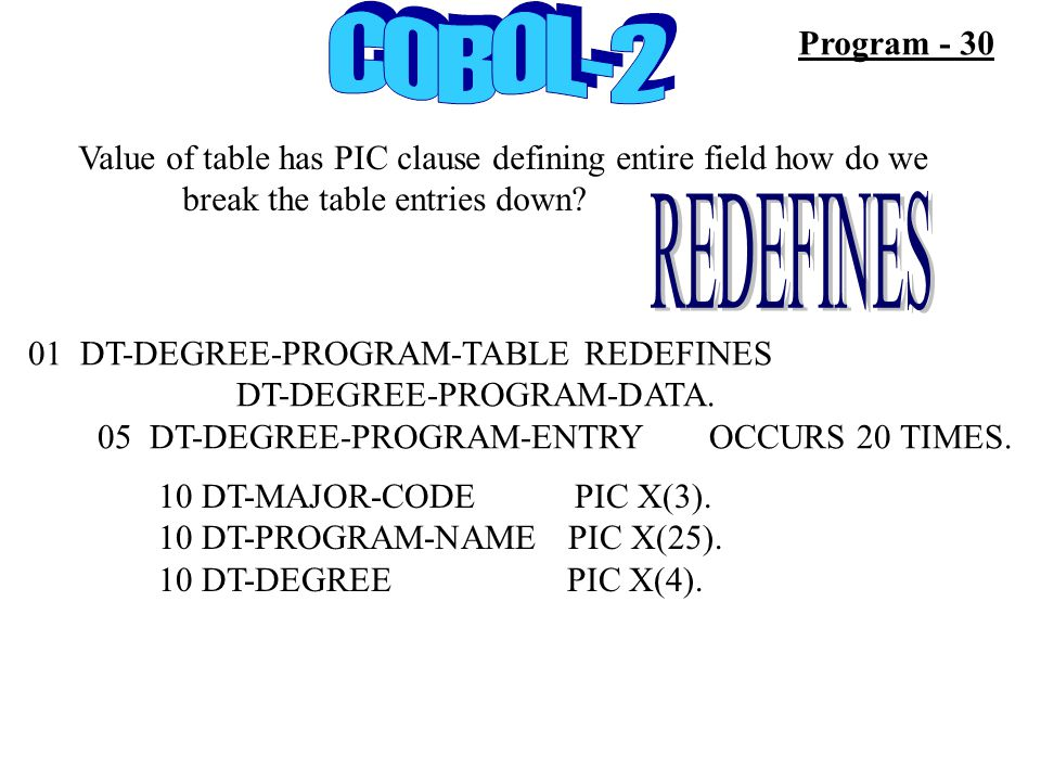 Program - 30 Value of table has PIC clause defining entire field how do we break the table entries down? 01 DT-DEGREE-PROGRAM-TABLE REDEFINES DT-DEGRE