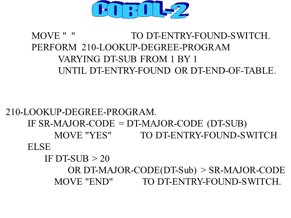 MOVE TO DT-ENTRY-FOUND-SWITCH.