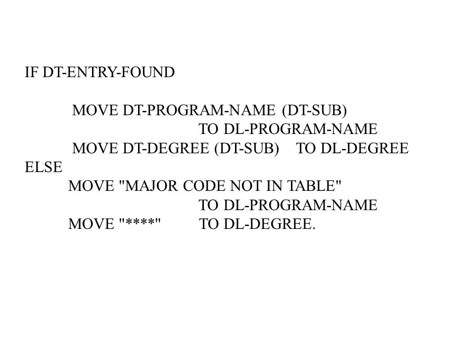IF DT-ENTRY-FOUND MOVE DT-PROGRAM-NAME (DT-SUB) TO DL-PROGRAM-NAME MOVE DT-DEGREE (DT-SUB) TO DL-DEGREE ELSE MOVE MAJOR CODE NOT IN TABLE TO DL-PROGRAM-NAME MOVE **** TO DL-DEGREE.