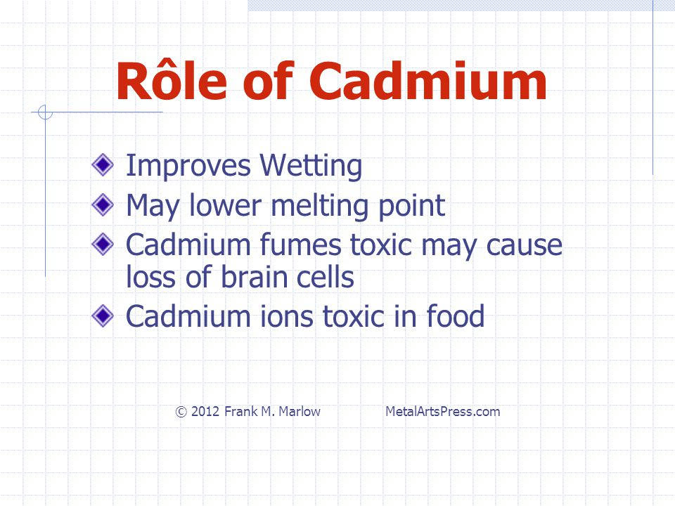 Rôle of Cadmium Improves Wetting May lower melting point Cadmium fumes toxic may cause loss of brain cells Cadmium ions toxic in food © 2012 Frank M.