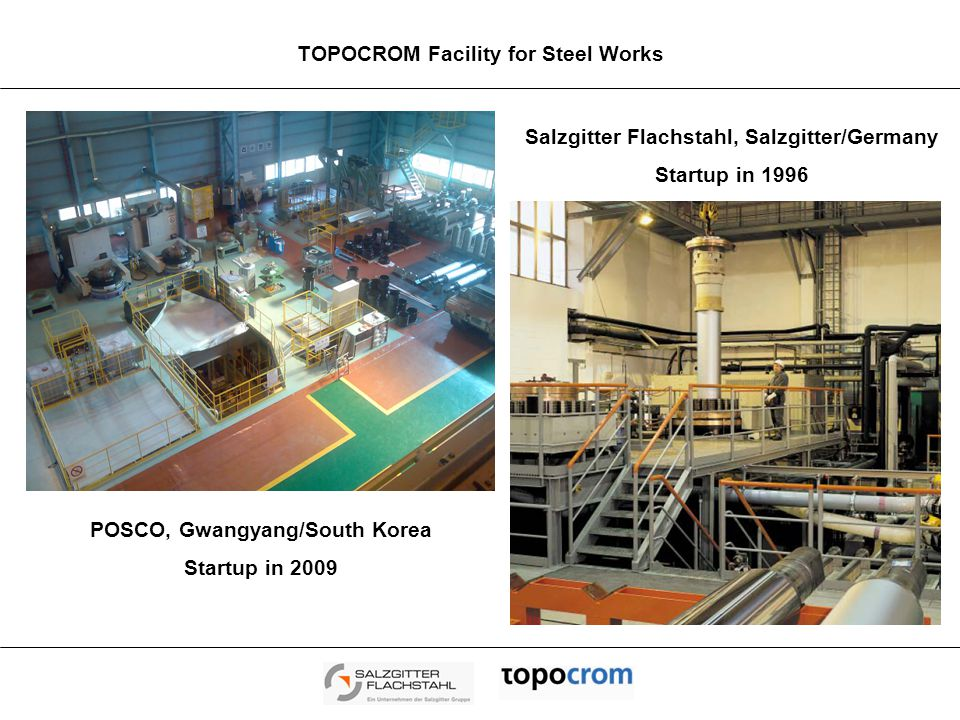 TOPOCROM – Texturing Technology: Benefits for Steelmakers Quality advantages for customers regarding formability and paint appearance Customized adjustment of all structure parameters Constant high surface quality of the metal sheets Stable surface characteristics along the entire strip width and length Reliable reproducibility Significant increased Roll Life Time Reduced number of roll changes Remarkable reduction in grinding and texturing costs Increased total service life of the roll and total productivity due to less grinding operations Reduction of roll inventory Higher productivity Reduced costs High wear resistance of TOPOCROM – Rolls allows Schedule Free Rolling Increased productivity/higher mill availability Reduction of roll inventory Modest technological invest Low capital and manufacturing costs