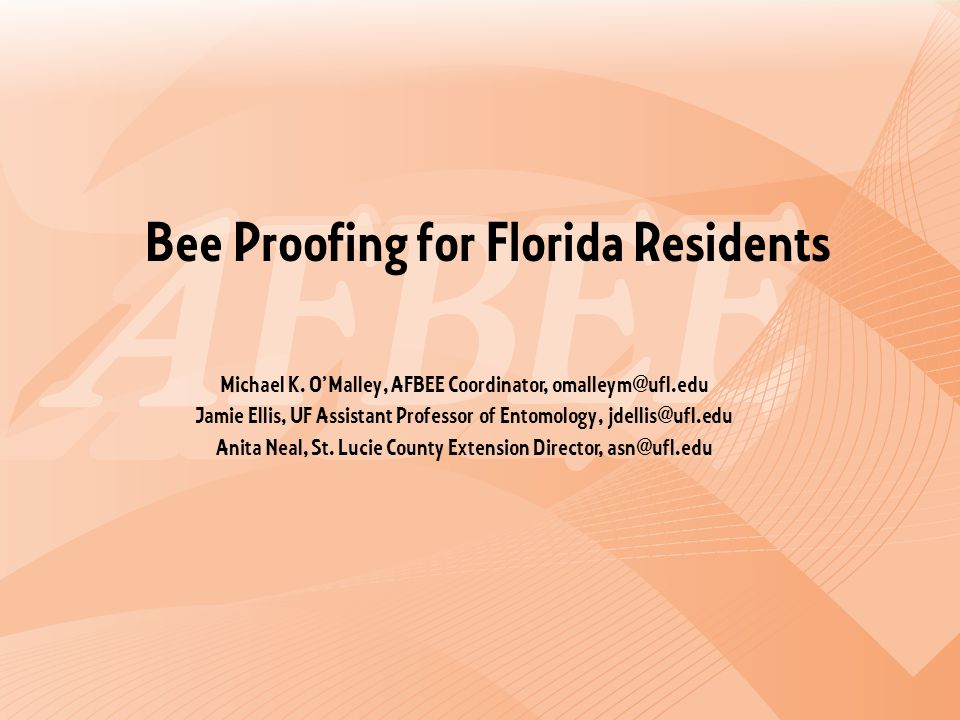 Bee Proofing for Florida Residents Michael K.