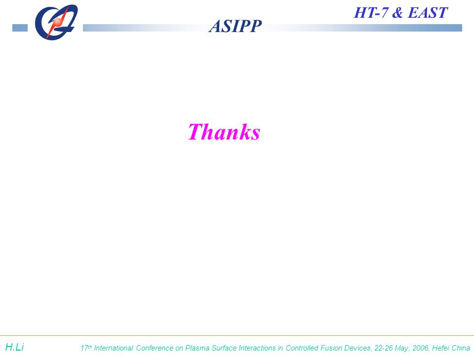 ASIPP HT-7 & EAST 17 th International Conference on Plasma Surface Interactions in Controlled Fusion Devices, 22-26 May, 2006, Hefei China H.Li Thanks