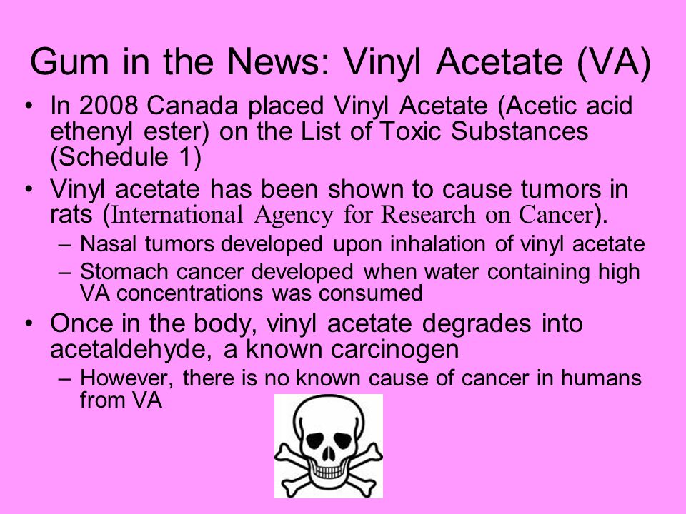 Gum in the News: Vinyl Acetate (VA) In 2008 Canada placed Vinyl Acetate (Acetic acid ethenyl ester) on the List of Toxic Substances (Schedule 1) Vinyl acetate has been shown to cause tumors in rats ( International Agency for Research on Cancer ).