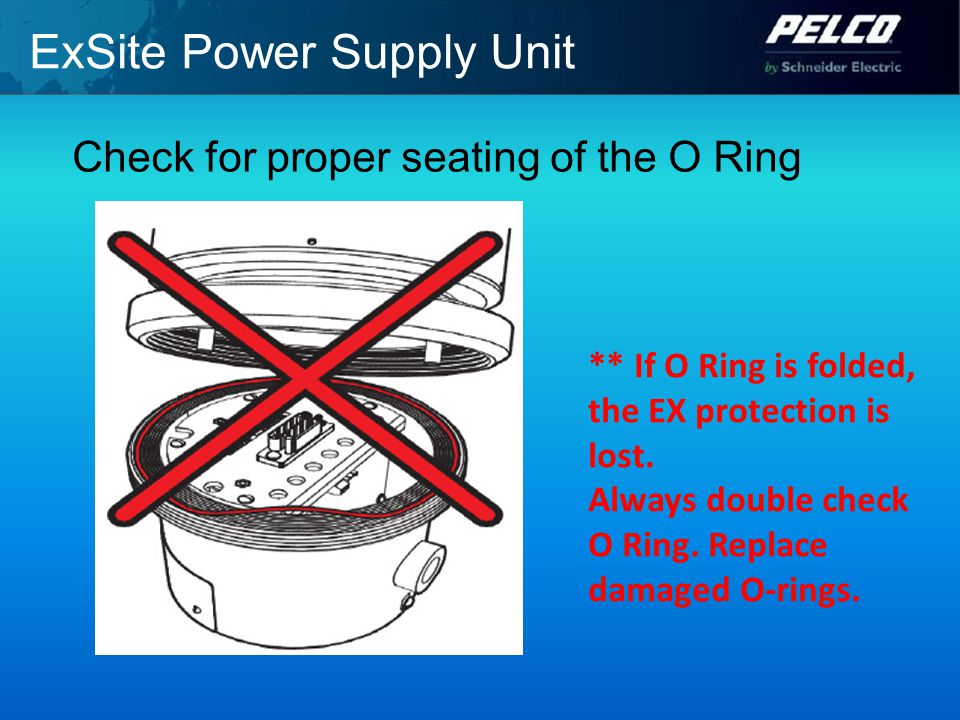 ExSite Power Supply Unit Check for proper seating of the O Ring ** If O Ring is folded, the EX protection is lost.