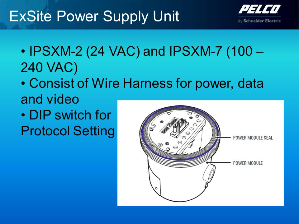 ExSite Power Supply Unit IPSXM-2 (24 VAC) and IPSXM-7 (100 – 240 VAC) Consist of Wire Harness for power, data and video DIP switch for Protocol Setting