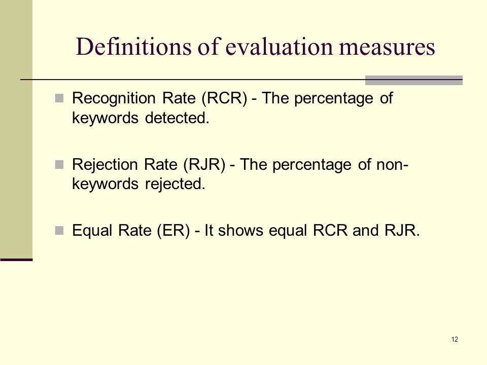 12 Definitions of evaluation measures Recognition Rate (RCR) - The percentage of keywords detected.