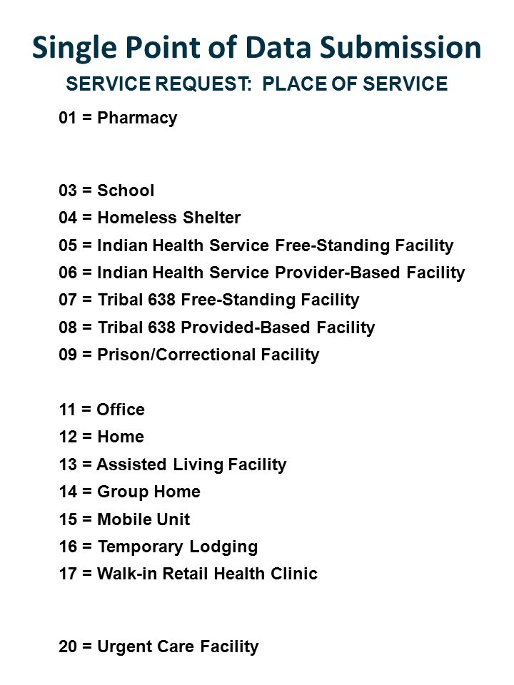 Single Point of Data Submission SERVICE REQUEST: PLACE OF SERVICE 01 = Pharmacy 03 = School 04 = Homeless Shelter 05 = Indian Health Service Free-Standing Facility 06 = Indian Health Service Provider-Based Facility 07 = Tribal 638 Free-Standing Facility 08 = Tribal 638 Provided-Based Facility 09 = Prison/Correctional Facility 11 = Office 12 = Home 13 = Assisted Living Facility 14 = Group Home 15 = Mobile Unit 16 = Temporary Lodging 17 = Walk-in Retail Health Clinic 20 = Urgent Care Facility