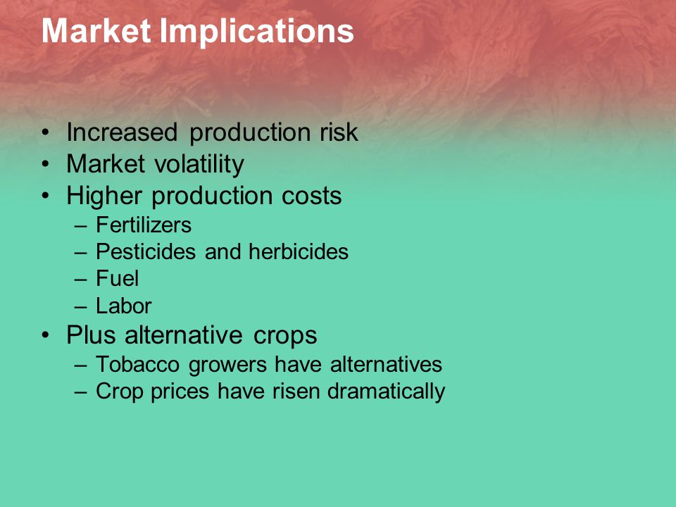 Market Implications Increased production risk Market volatility Higher production costs –Fertilizers –Pesticides and herbicides –Fuel –Labor Plus alternative crops –Tobacco growers have alternatives –Crop prices have risen dramatically