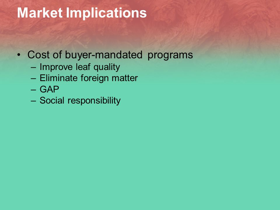 Market Implications Cost of buyer-mandated programs –Improve leaf quality –Eliminate foreign matter –GAP –Social responsibility