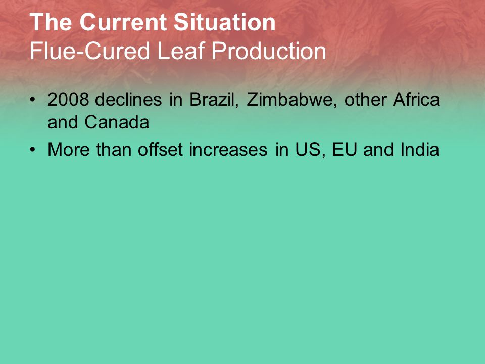 The Current Situation Flue-Cured Leaf Production 2008 declines in Brazil, Zimbabwe, other Africa and Canada More than offset increases in US, EU and India