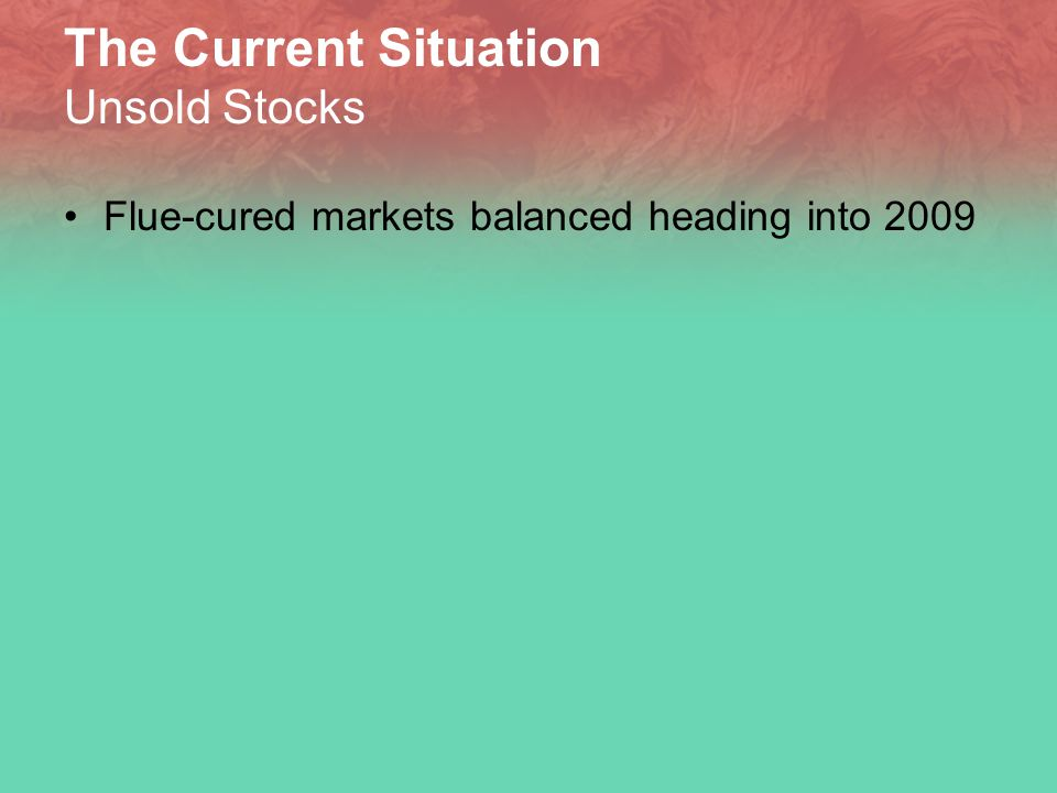 The Current Situation Unsold Stocks Flue-cured markets balanced heading into 2009