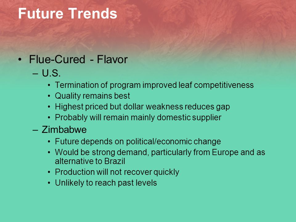Future Trends Flue-Cured - Flavor –U.S.
