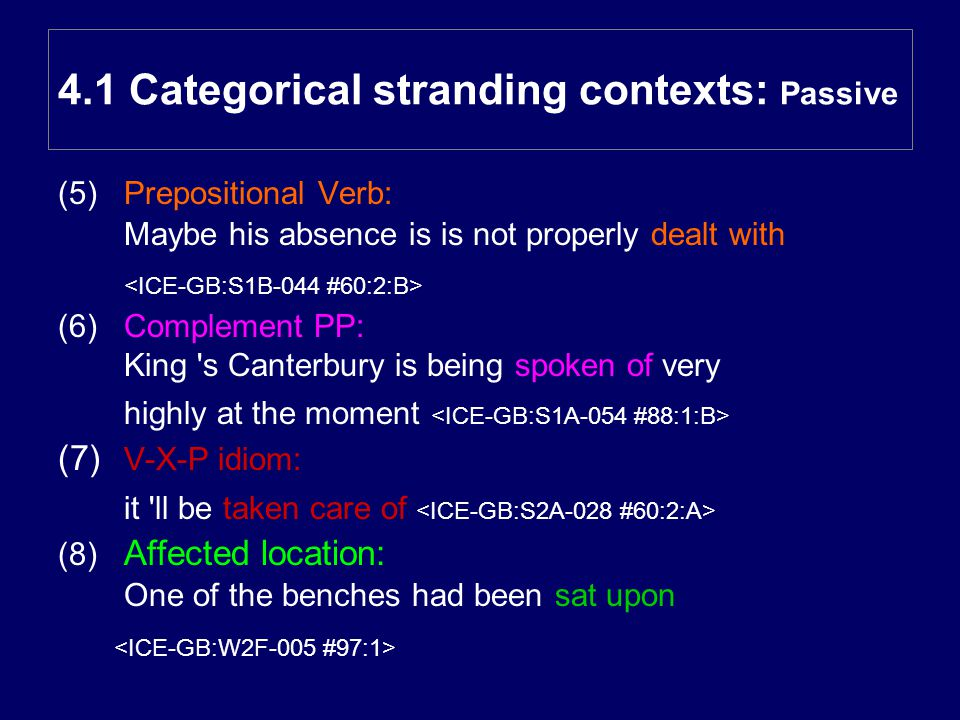 (5)Prepositional Verb: Maybe his absence is is not properly dealt with (6) Complement PP: King s Canterbury is being spoken of very highly at the moment (7) V-X-P idiom: it ll be taken care of (8) Affected location: One of the benches had been sat upon