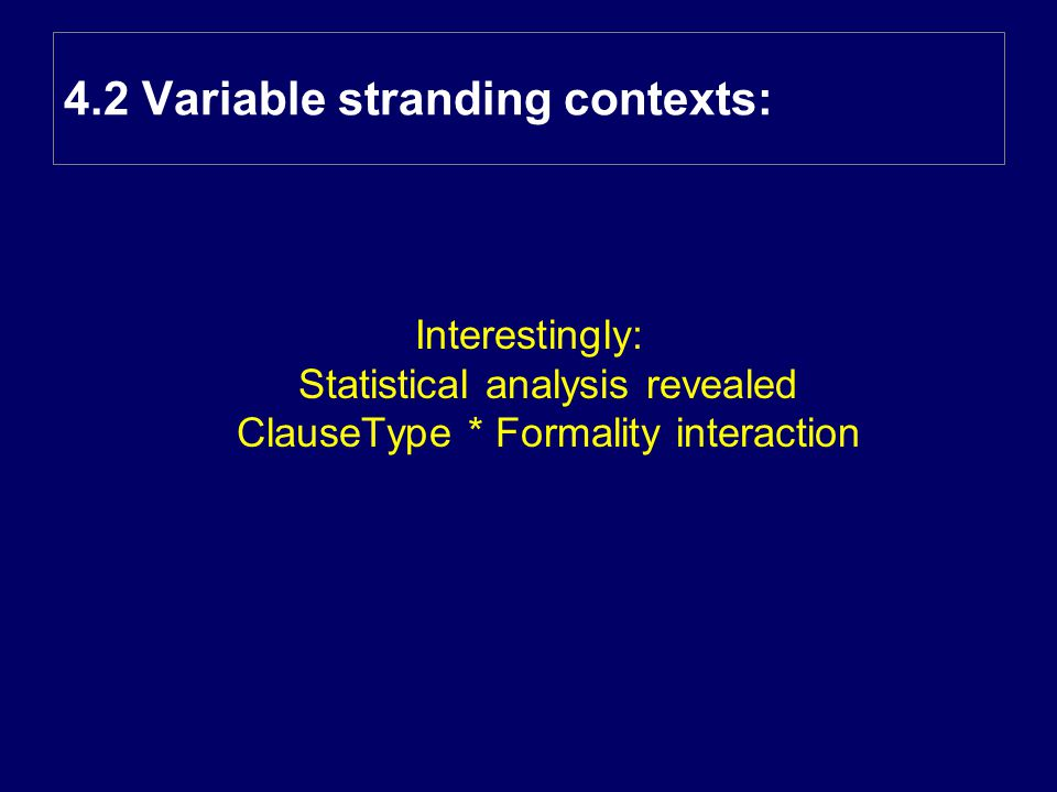 Interestingly: Statistical analysis revealed ClauseType * Formality interaction 4.2 Variable stranding contexts: