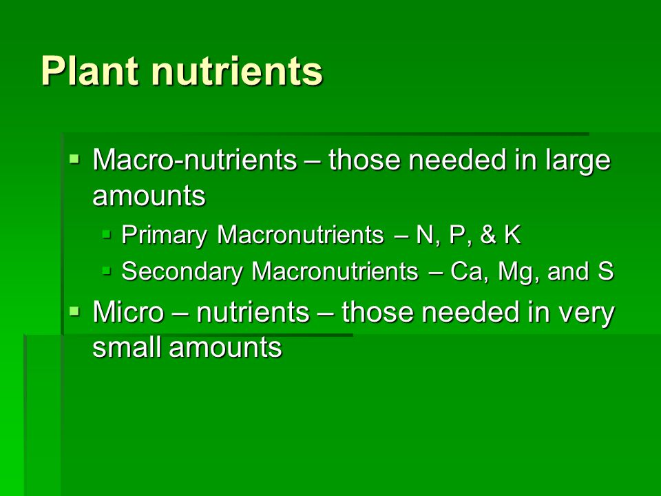 Plant nutrients  Macro-nutrients – those needed in large amounts  Primary Macronutrients – N, P, & K  Secondary Macronutrients – Ca, Mg, and S  Micro – nutrients – those needed in very small amounts