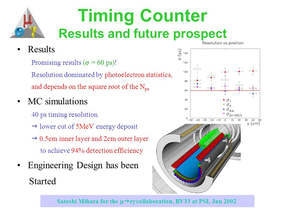 Satoshi Mihara for the   e  collaboration, BV33 at PSI, Jan 2002 Timing Counter Results and future prospect Results Promising results (  = 60 ps).