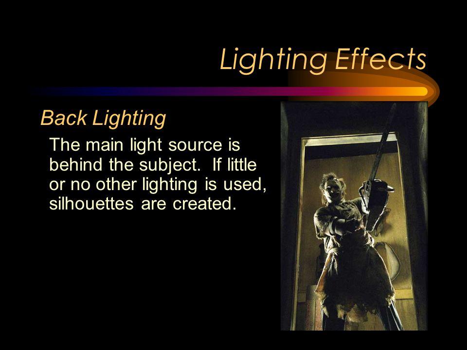 Lighting Effects Underlighting The main source of lighting is from below.