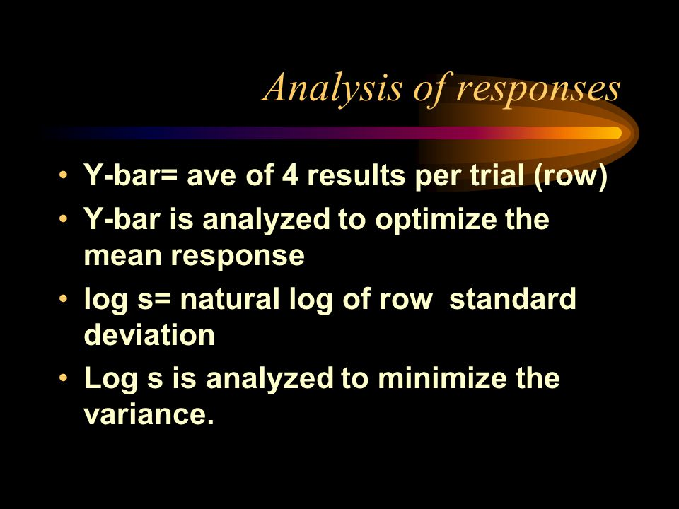 Analysis of responses Y-bar= ave of 4 results per trial (row) Y-bar is analyzed to optimize the mean response log s= natural log of row standard deviation Log s is analyzed to minimize the variance.