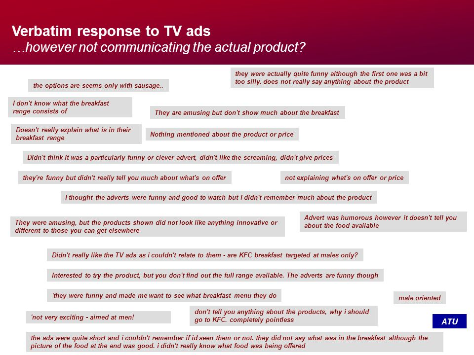 Verbatim response to TV ads …however not communicating the actual product.