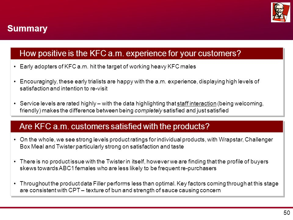 50 Summary How positive is the KFC a.m. experience for your customers.