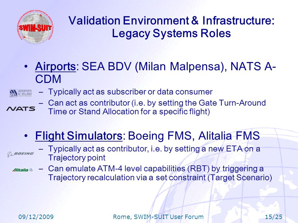 09/12/2009 Rome, SWIM-SUIT User Forum 15/25 Airports: SEA BDV (Milan Malpensa), NATS A- CDM –Typically act as subscriber or data consumer –Can act as contributor (i.e.