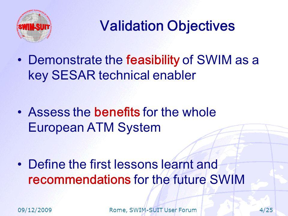 09/12/2009 Rome, SWIM-SUIT User Forum 15/25 Airports: SEA BDV (Milan Malpensa), NATS A- CDM –Typically act as subscriber or data consumer –Can act as contributor (i.e.